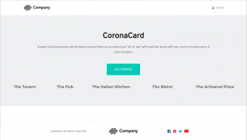 CoronaCard Landing Page Mockup