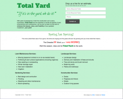 The Total Yard one-page site